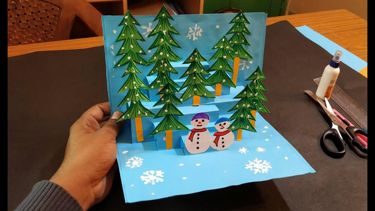 10) 3D Christmas Pop Up Card   How To Make A 3D Pop Up Pertaining To 3D Christmas Tree Card Template