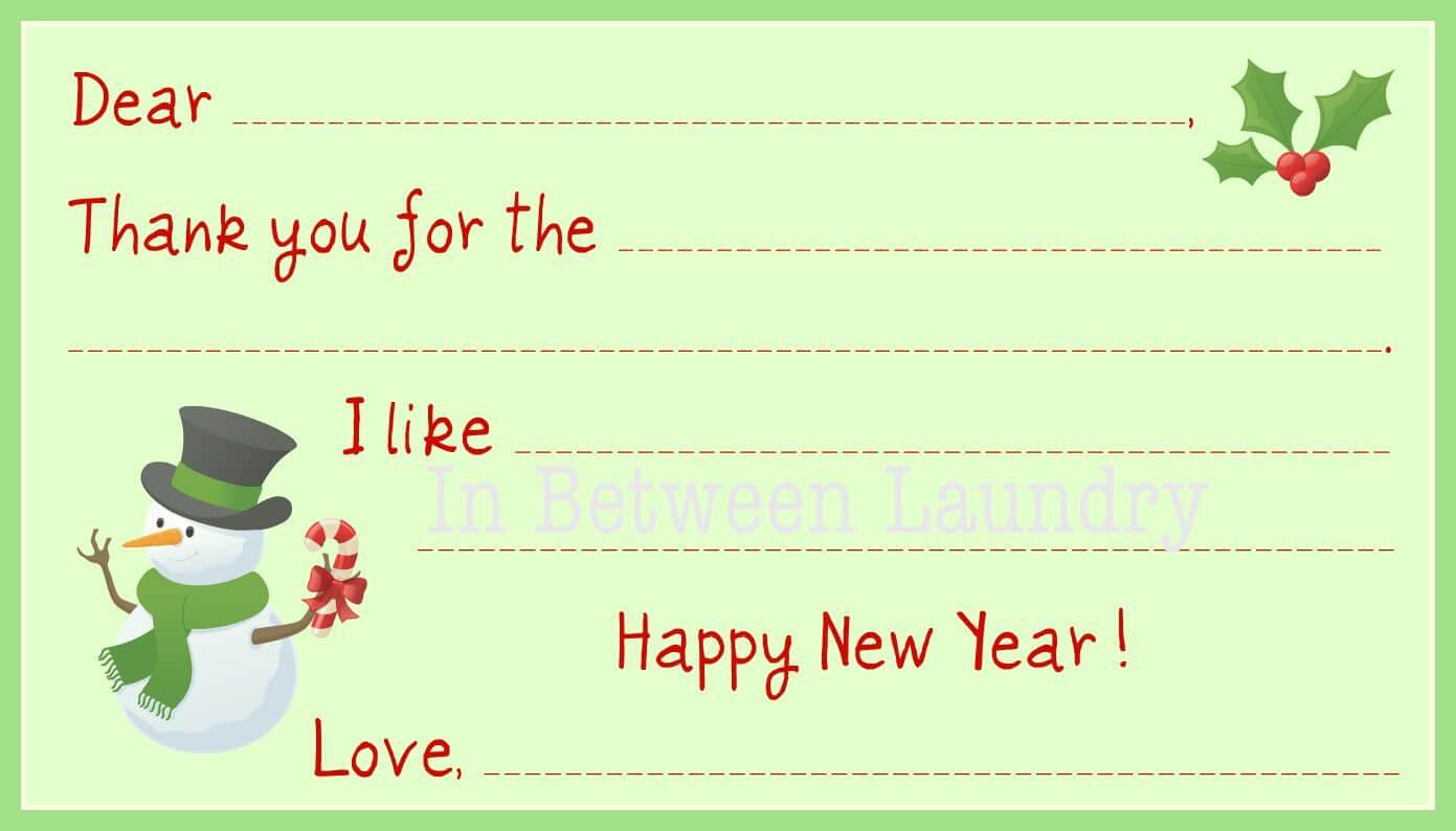 11 Free, Printable Christmas Thank You Cards With Regard To Christmas Thank You Card Templates Free