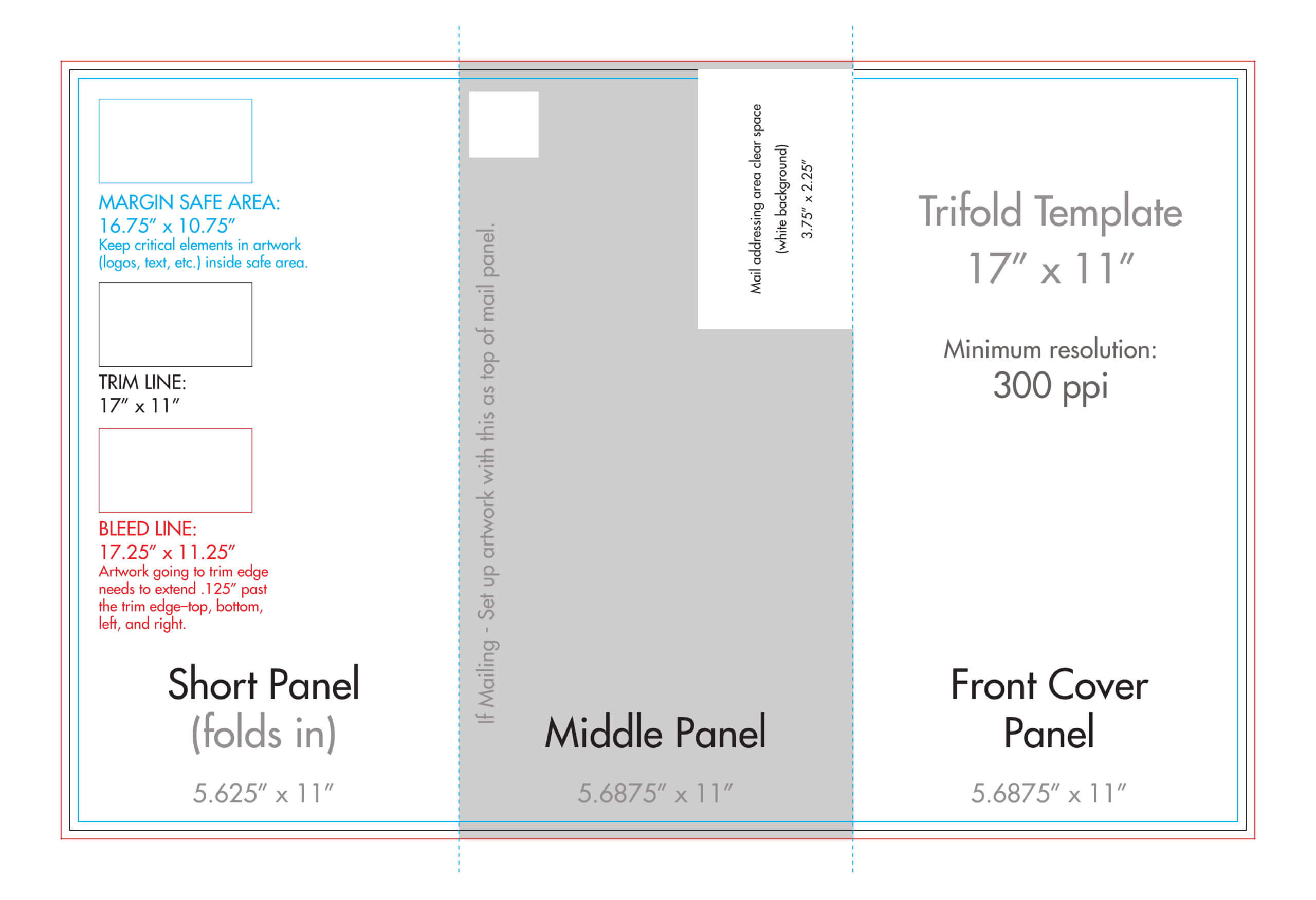"11"" X 17"" Tri Fold Brochure Template - U.s. Press Inside 11X17 Brochure Template"