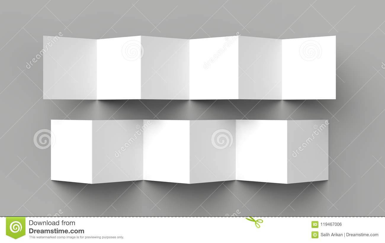 12 Page Leaflet, 6 Panel Accordion Fold - Z Fold Square Inside 6 Panel Brochure Template