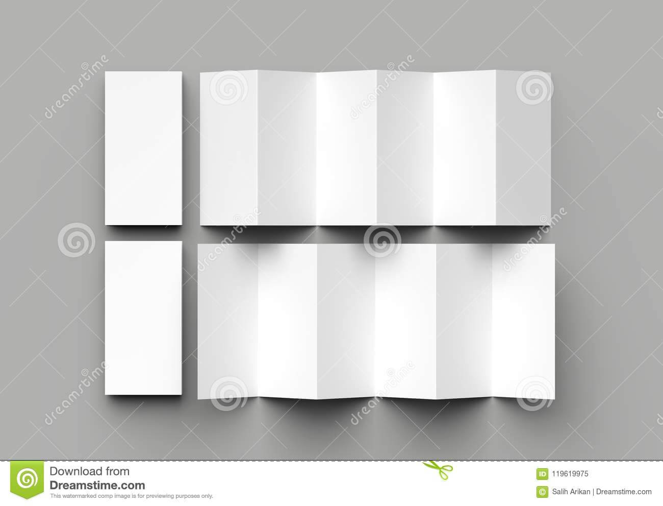 12 Page Leaflet, 6 Panel Accordion Fold - Z Fold Vertical For 6 Panel Brochure Template