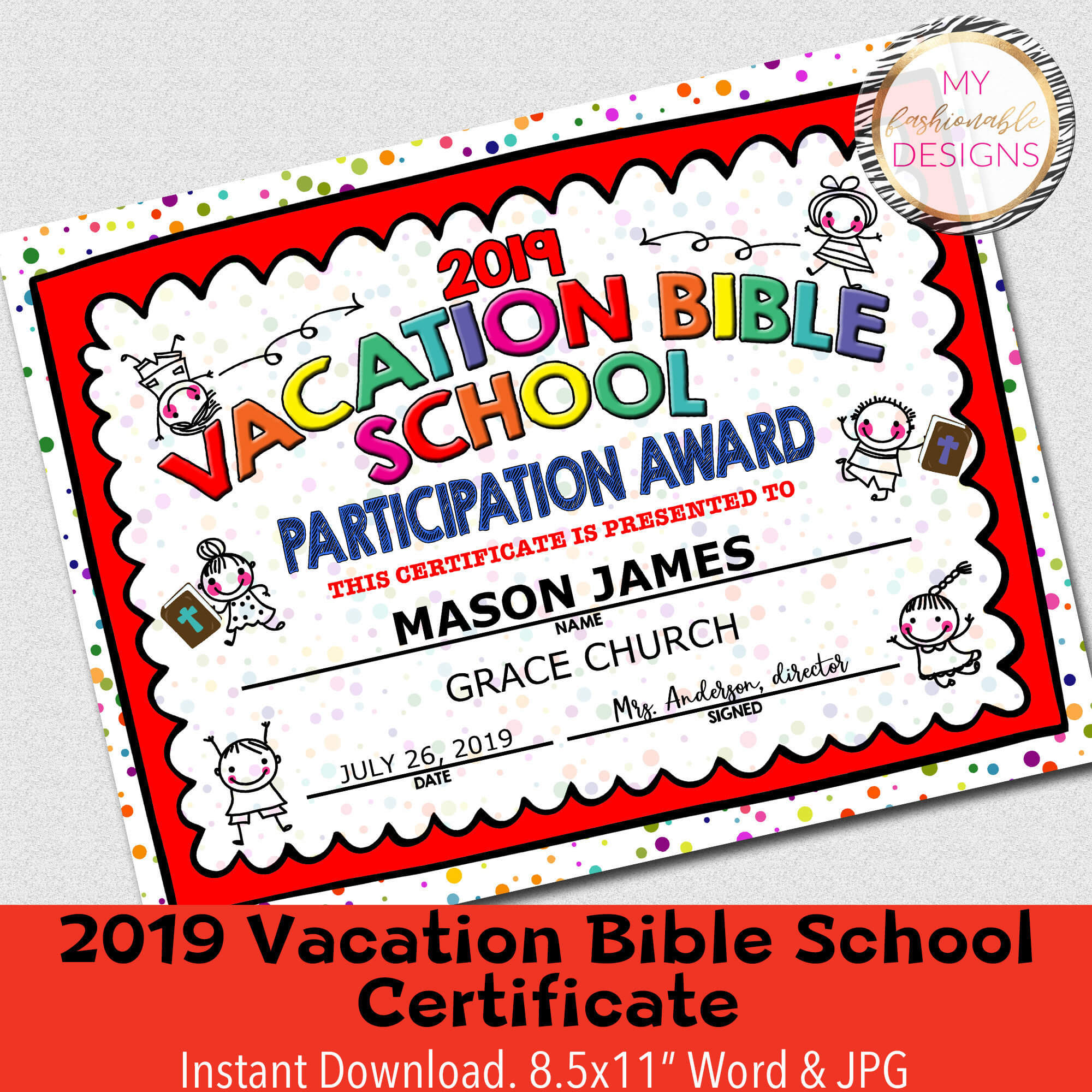 """2019 Vbs Certificate, Vacation Bible School, Instant Download – 8.5X11""""  Word And Jpg Within Vbs Certificate Template"""