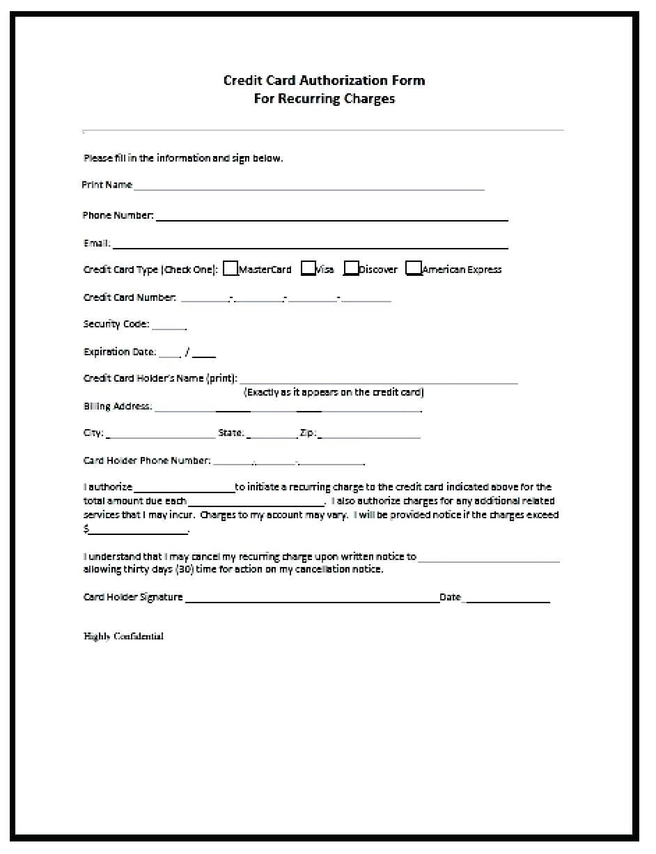 23+ Credit Card Authorization Form Template Pdf Fillable 2020!! Within Credit Card On File Form Templates