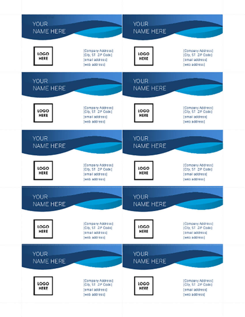 25+ Free Microsoft Word Business Card Templates (Printable With Regard To Blank Business Card Template For Word