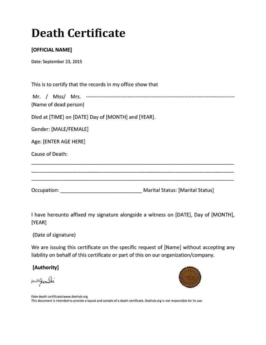 37 Blank Death Certificate Templates [100% Free] ᐅ Templatelab In Death Certificate Translation Template