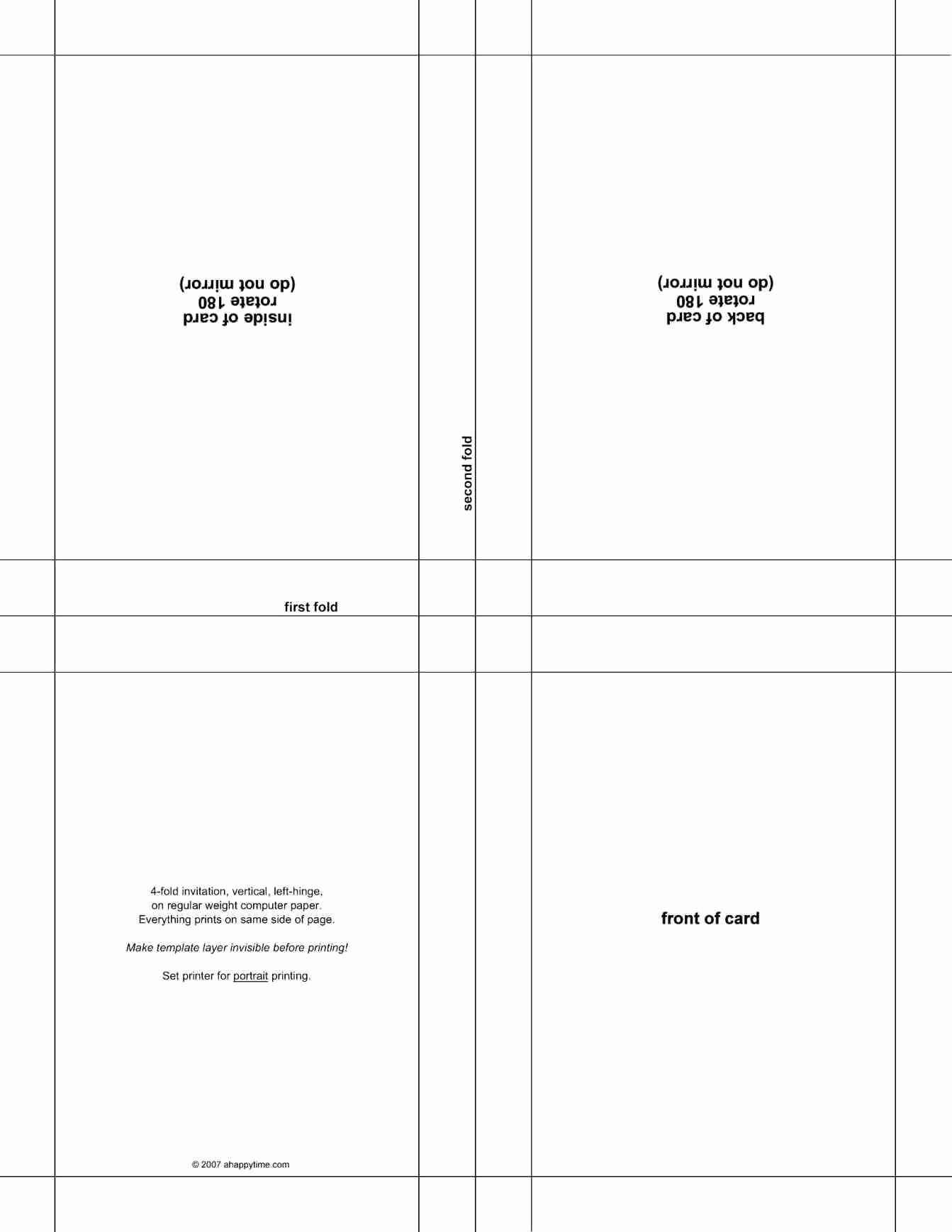 4 Fold Card Template Word - Calep.midnightpig.co For Quarter Fold Birthday Card Template