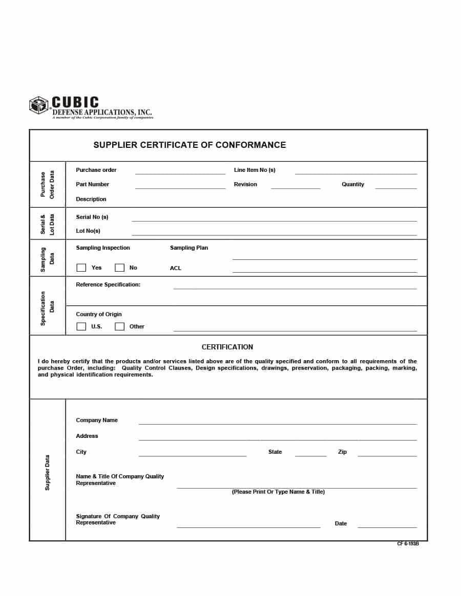 40 Free Certificate Of Conformance Templates & Forms ᐅ Pertaining To Certificate Of Origin For A Vehicle Template