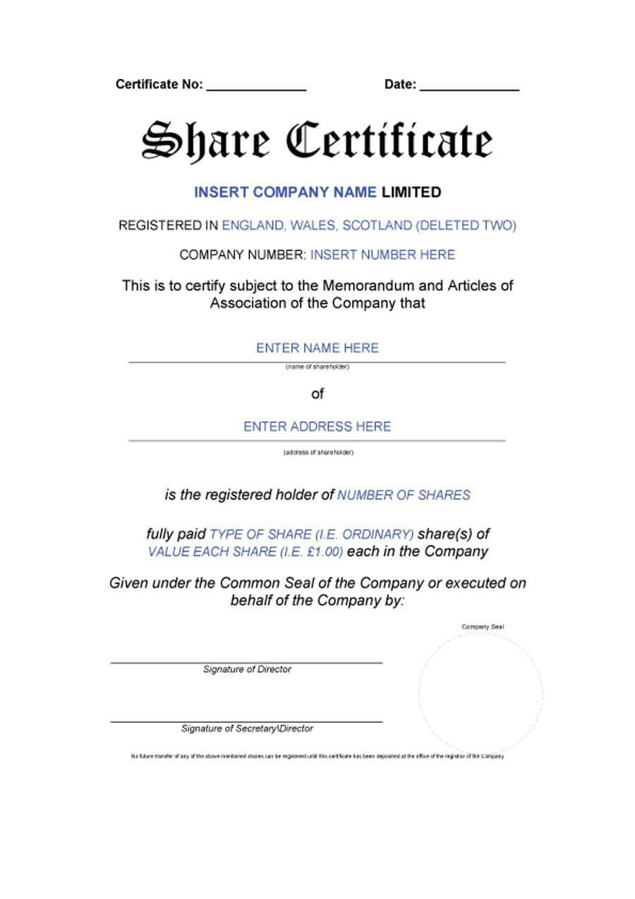 40+ Free Stock Certificate Templates (Word, Pdf) ᐅ Templatelab For Shareholding Certificate Template