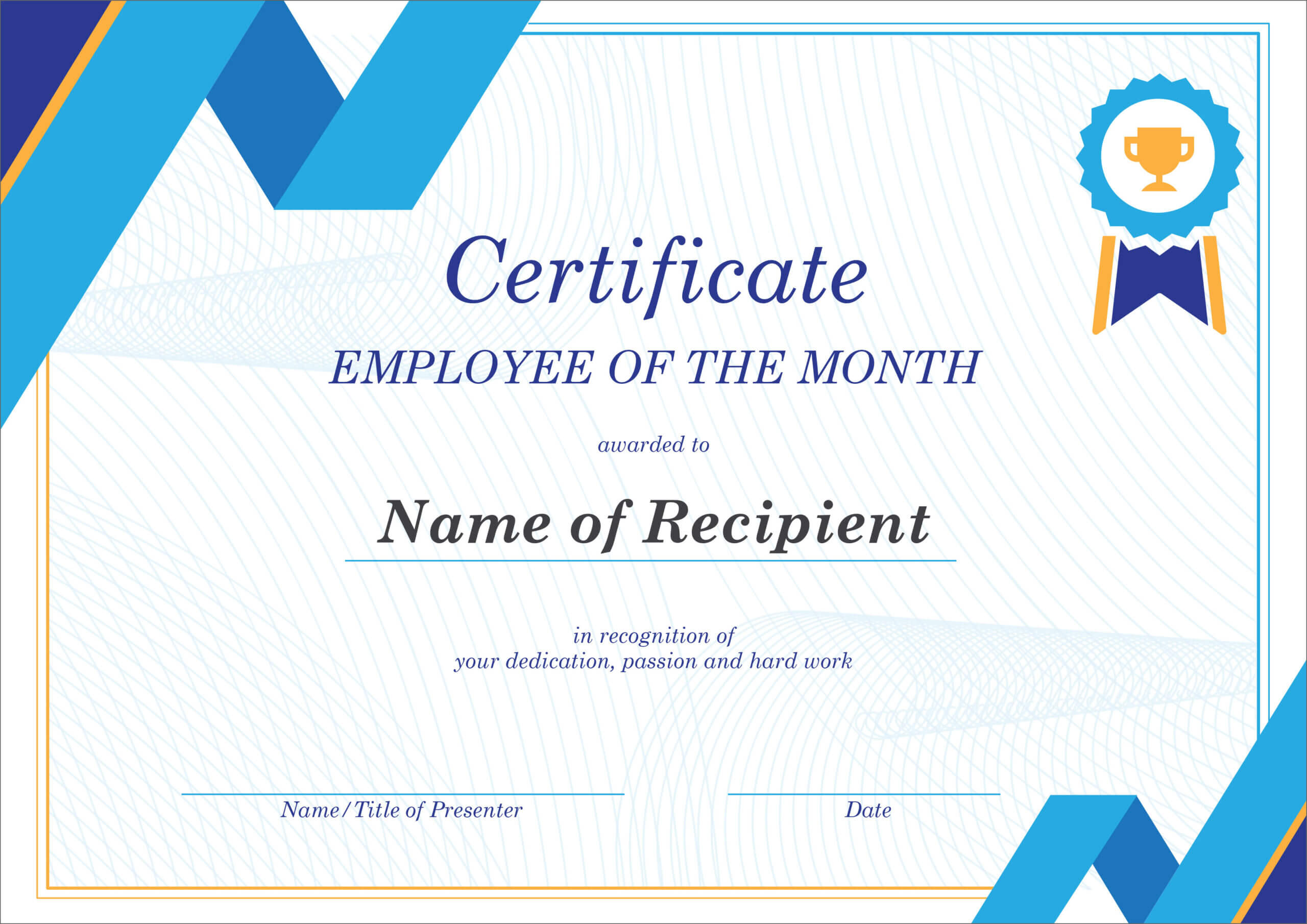 50 Free Creative Blank Certificate Templates In Psd Regarding Manager Of The Month Certificate Template