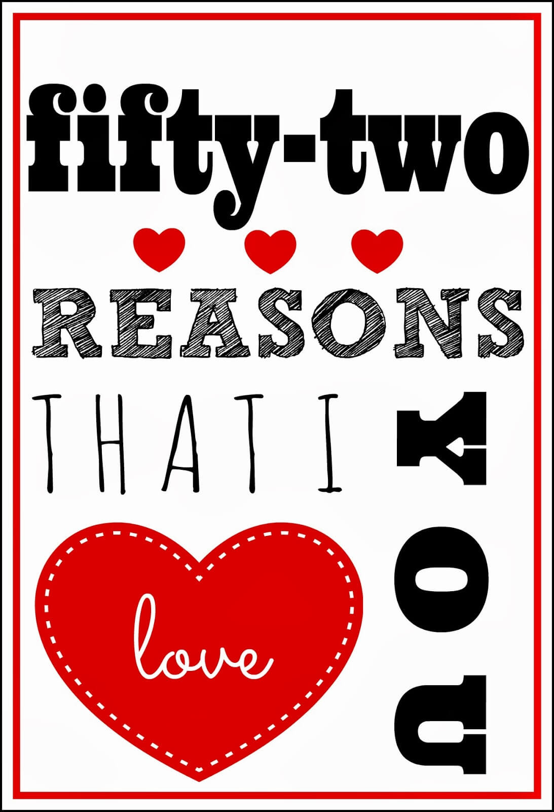 52 Reasons I Love You Template Free ] - You Will Get A With 52 Reasons Why I Love You Cards Templates