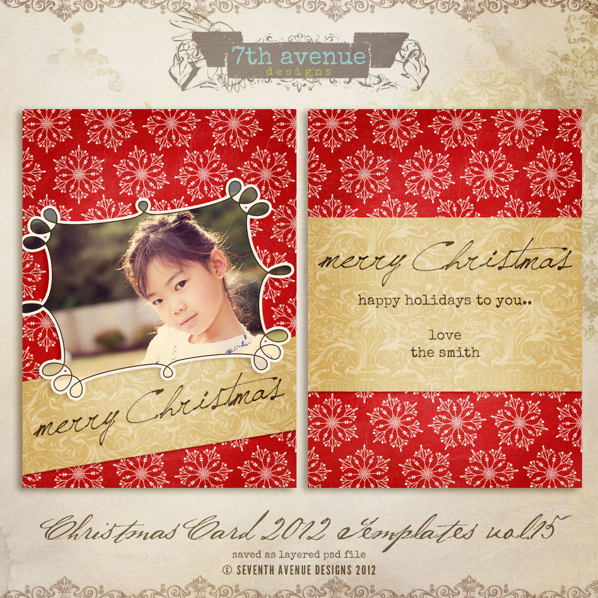 5X7 Christmas Card Templates Free – Calep.midnightpig.co With Free Photoshop Christmas Card Templates For Photographers