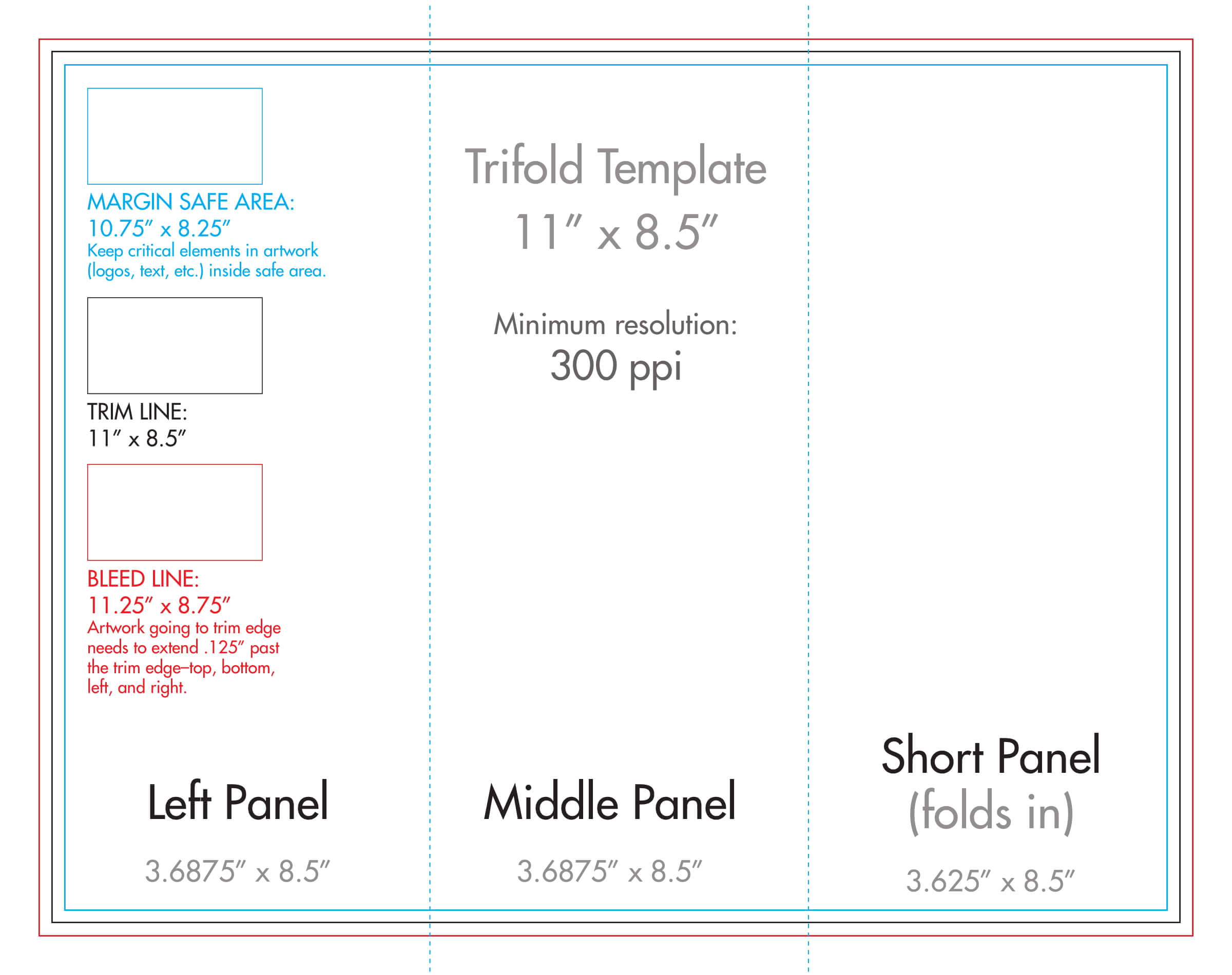 "8.5"" X 11"" Tri Fold Brochure Template - U.s. Press Throughout 8.5 X11 Brochure Template"