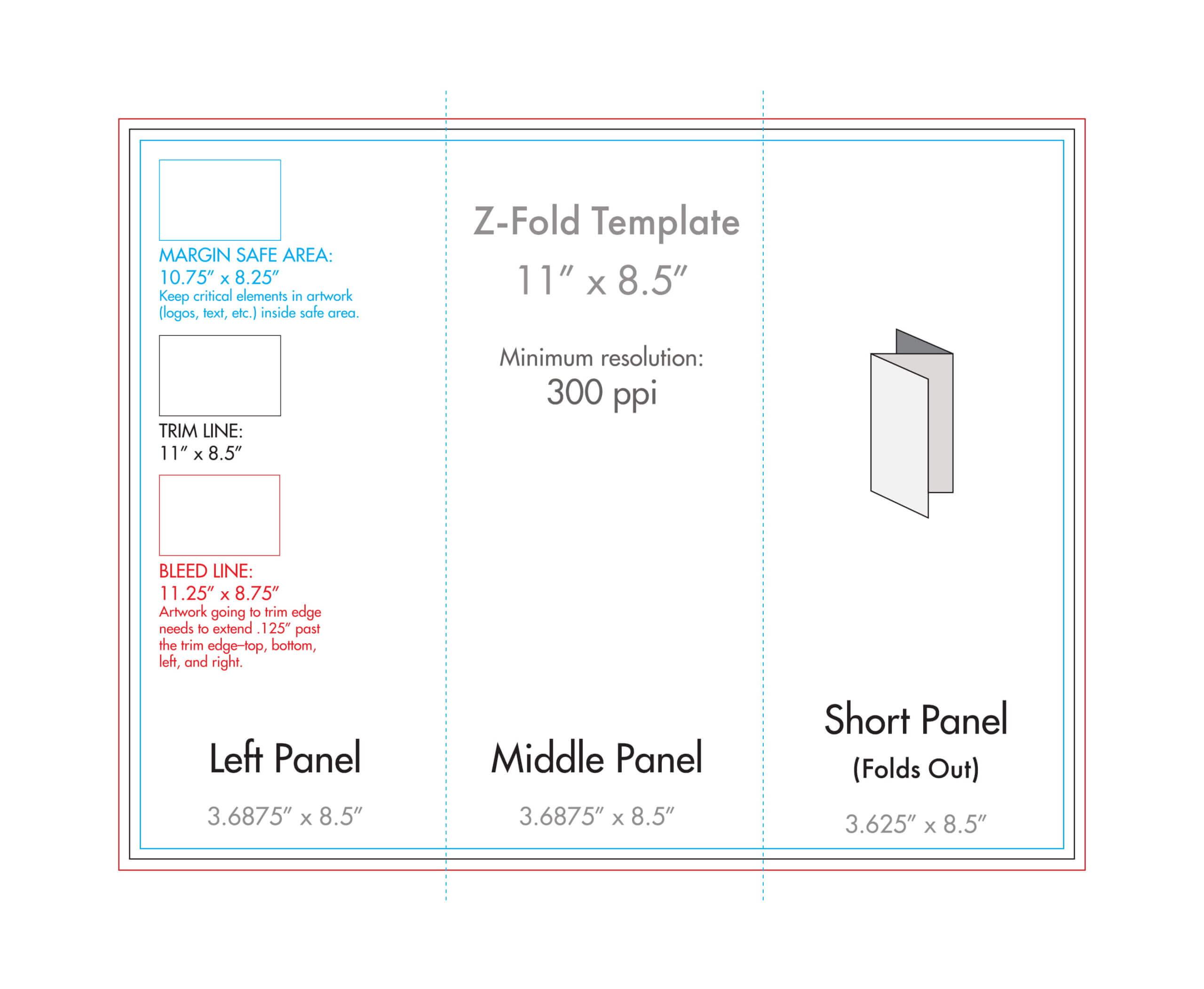 "8.5"" X 11"" Z Fold Brochure Template - U.s. Press With Brochure Folding Templates"
