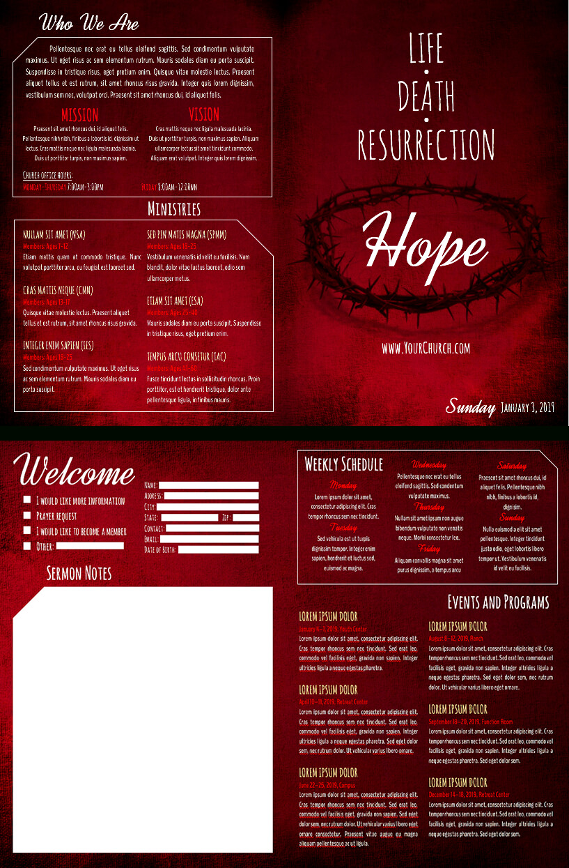8 Free Church Bulletin Templates Intended For Free Church Brochure Templates For Microsoft Word
