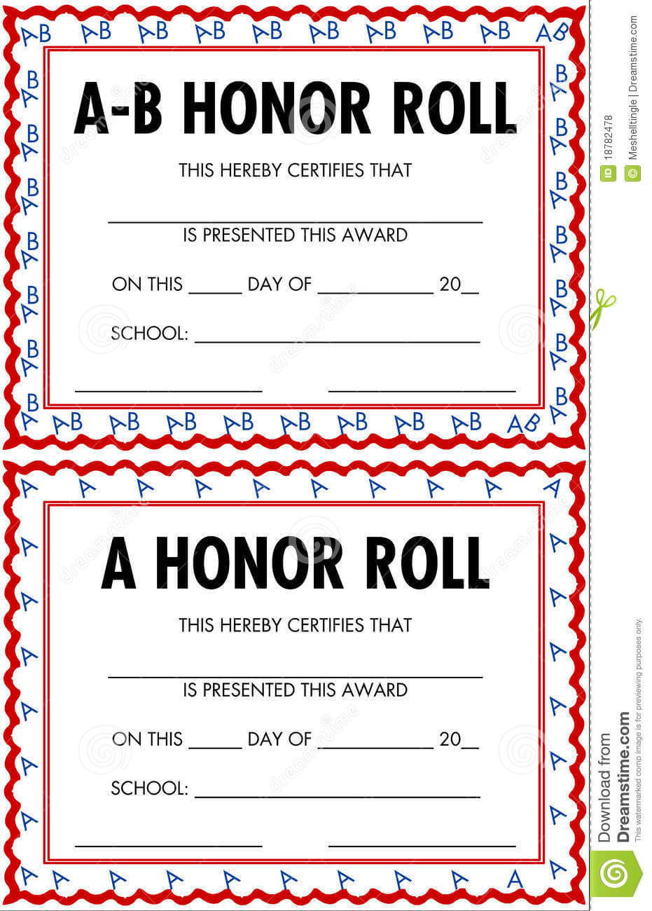 A/b Honor Roll Clipart Pertaining To Honor Roll Certificate Template