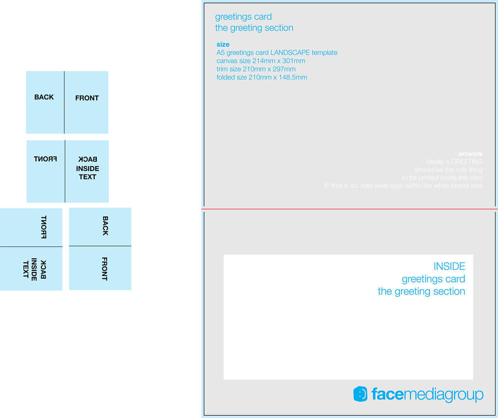 A5 Landscape Greetings Card Template - Tent Fold - Inside For Birthday Card Indesign Template