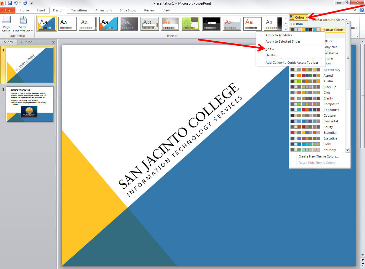 Applying And Modifying Themes In Powerpoint 2010 Throughout How To Edit Powerpoint Template