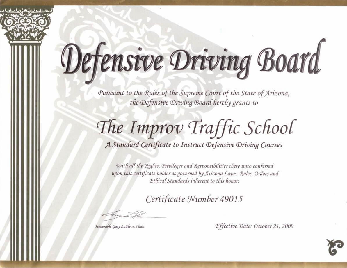Arizona Defensive Driving Schoolimprov Regarding Safe Driving Certificate Template