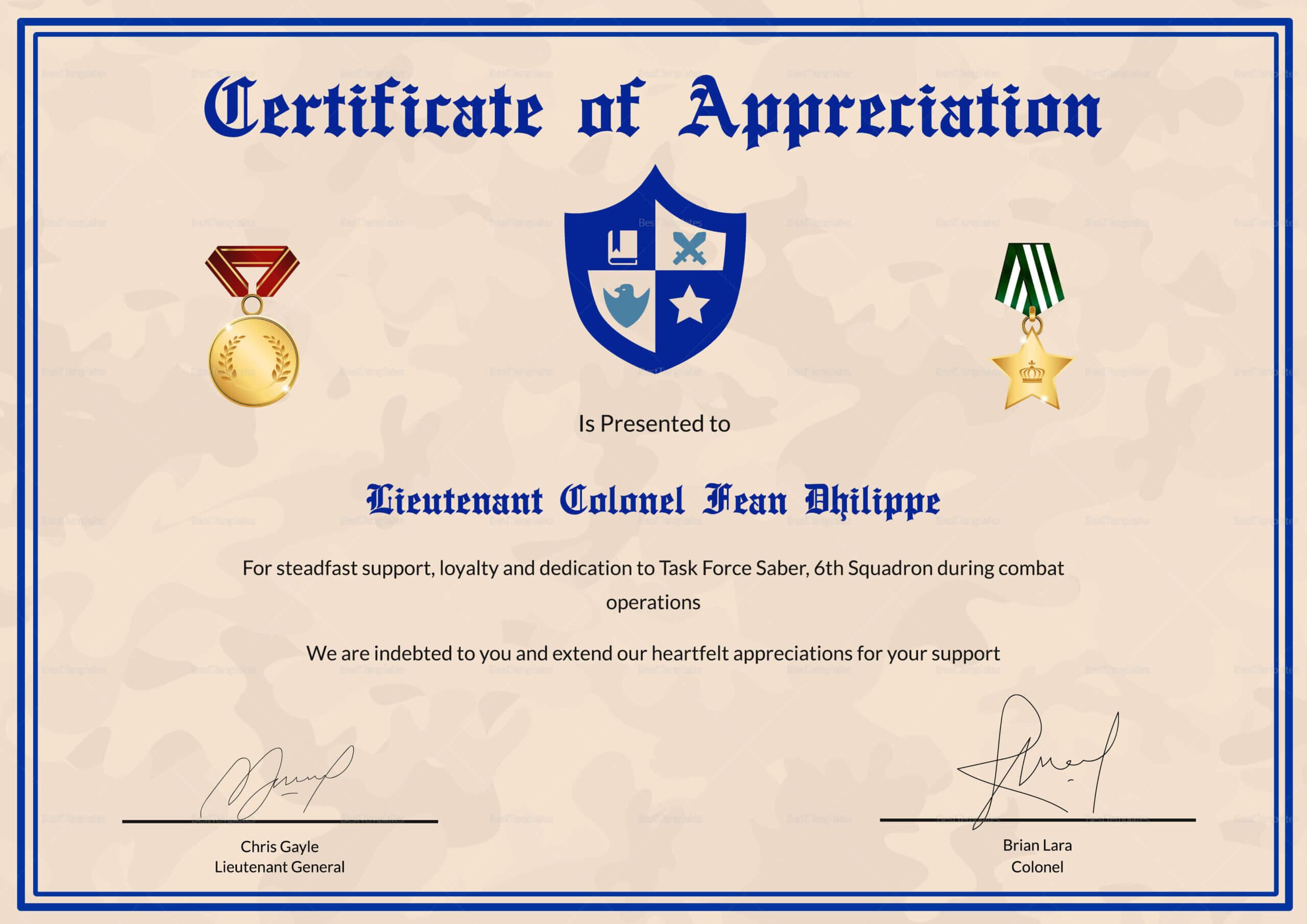 Army Certificate Of Appreciation Template Intended For Army Certificate Of Appreciation Template