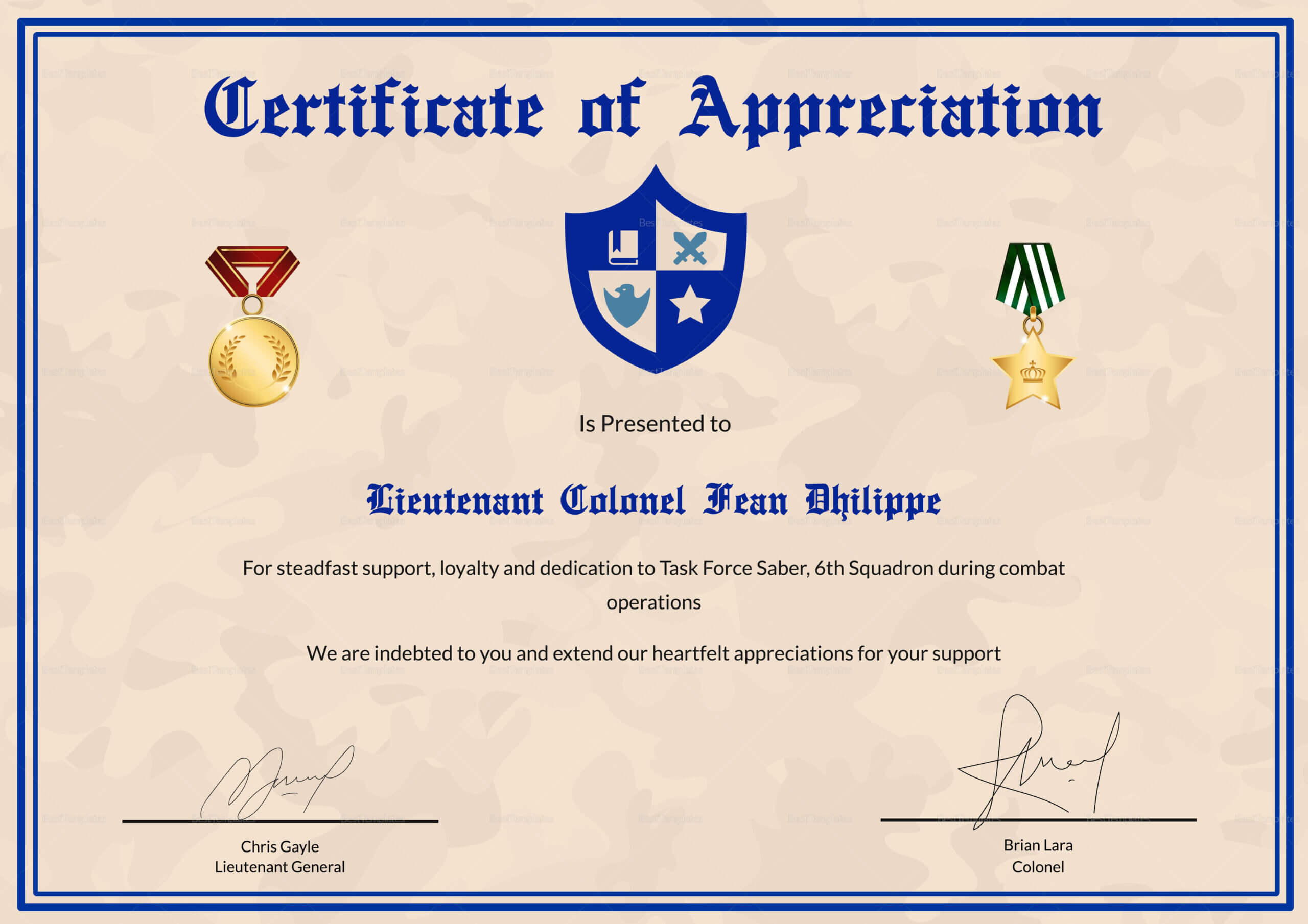 Army Certificate Of Appreciation Template With Army Certificate Of Achievement Template