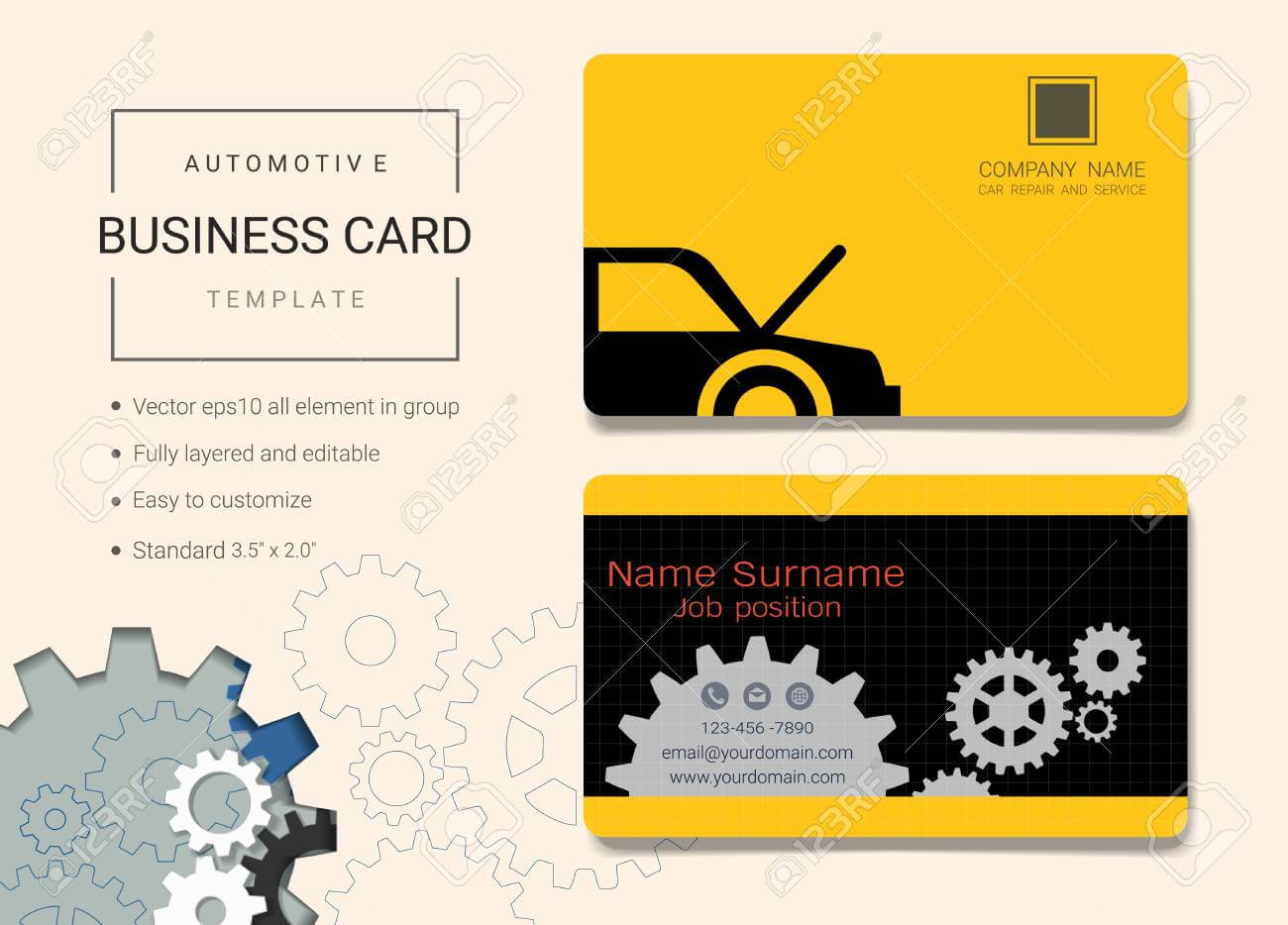 Automotive Business Card Or Name Card Template. Simple Style.. For Automotive Business Card Templates