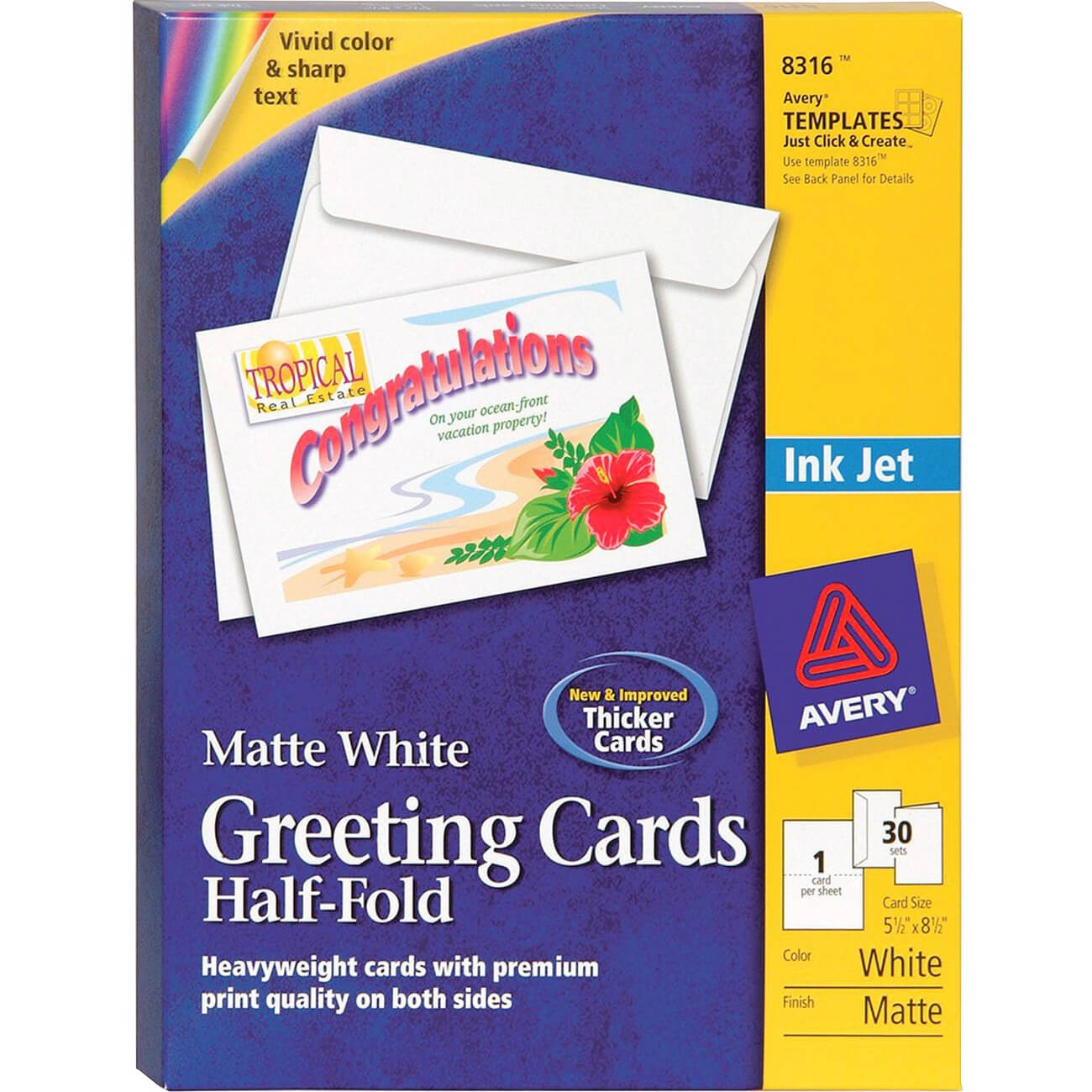 """Avery® Half Fold Greeting Cards, Matte, 5 1/2"""" X 8 1/2"""", 30 Cards/envelopes  (8316) – 8 1/2"""" X 5 1/2"""" – Matte – 30 / Box – White Inside Half Fold Greeting Card Template Word"""