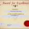 Award For Excellence Certificate | Templates At with Award Of Excellence Certificate Template
