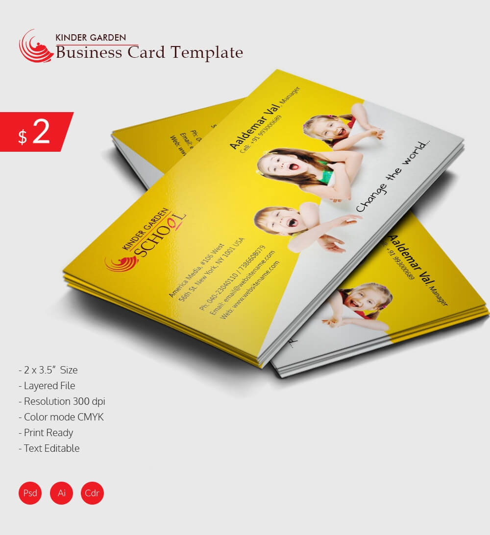 Awesome Kindergarten School Business Card Download   Free ...