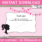 Barbie Party Thank You Cards Template Intended For Thank You Note Cards Template