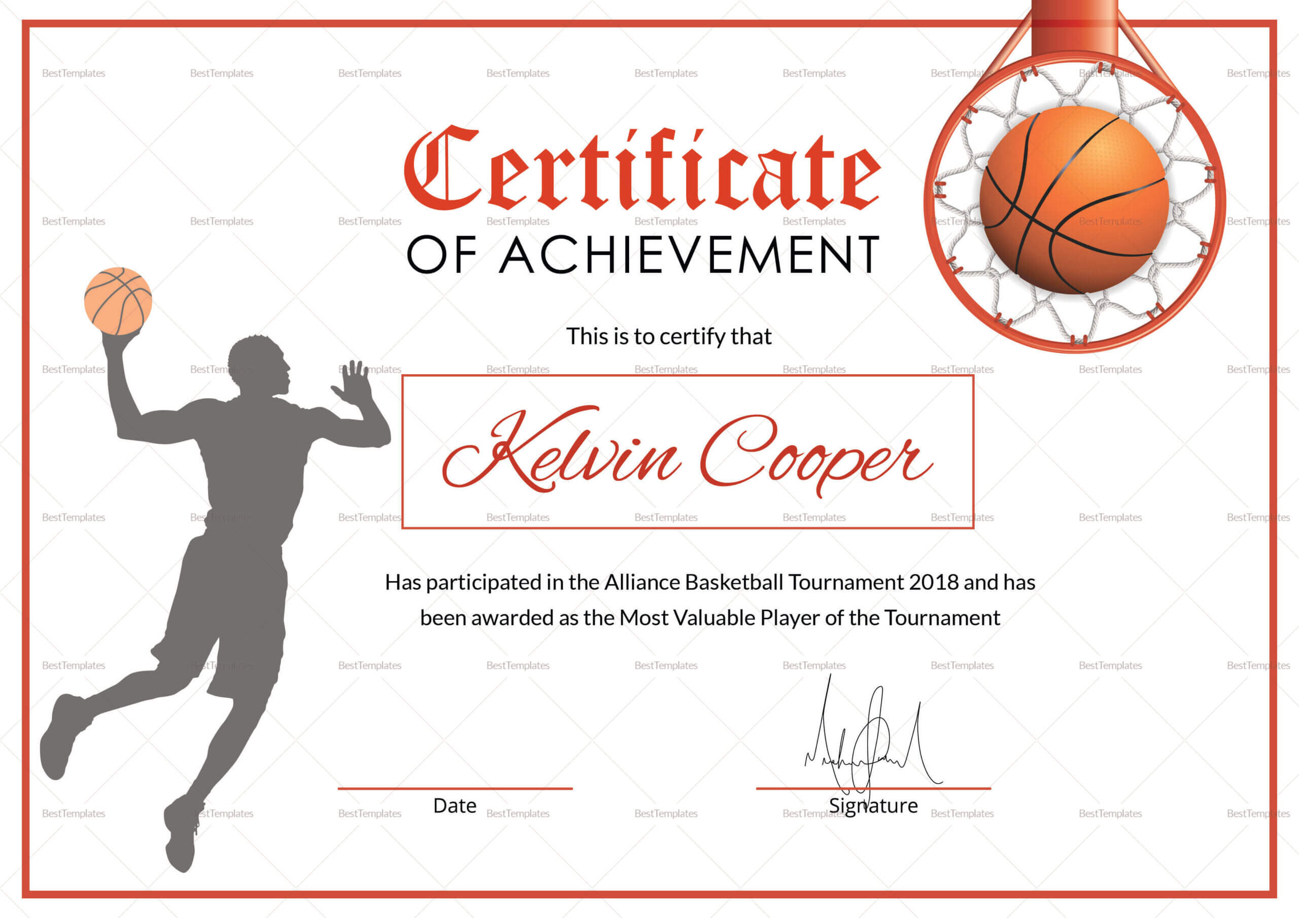 Basketball Awards Certificates - Calep.midnightpig.co Throughout Sports Award Certificate Template Word