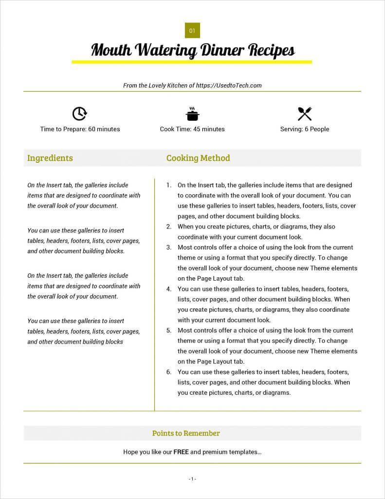 Best Looking Full Page Recipe Card In Microsoft Word - Used Within Free Recipe Card Templates For Microsoft Word
