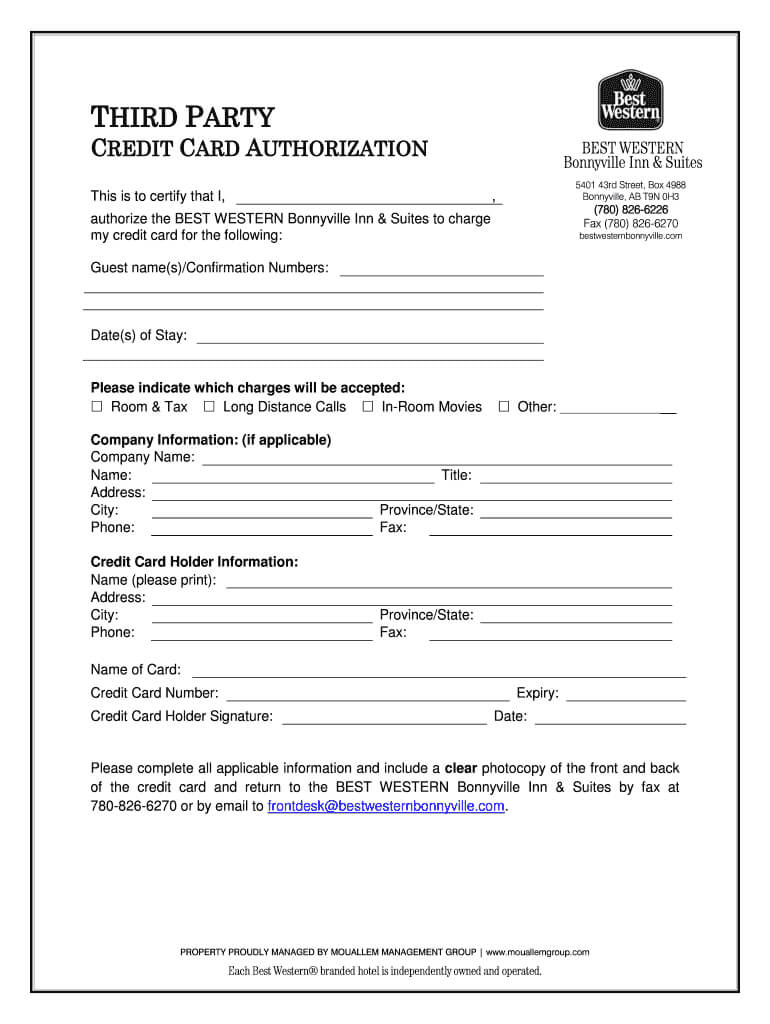 Best Western Credit Card Authorization Form – Fill Online With Hotel Credit Card Authorization Form Template