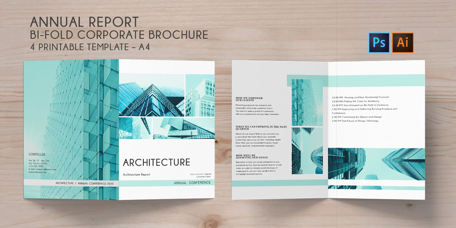 Bi Fold Brochure Annual Conference – 4 Template Throughout 4 Fold Brochure Template