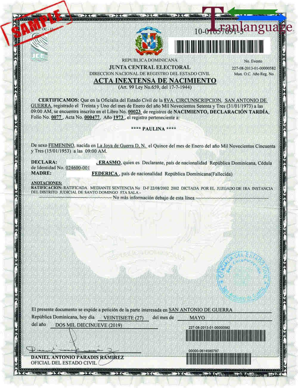 certificate birth dominican translation republic template spanish certified regarding example tranlanguage document translated translate antonio