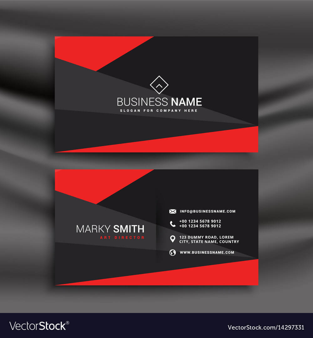 Black And Red Business Card Template With Within Download Visiting Card Templates