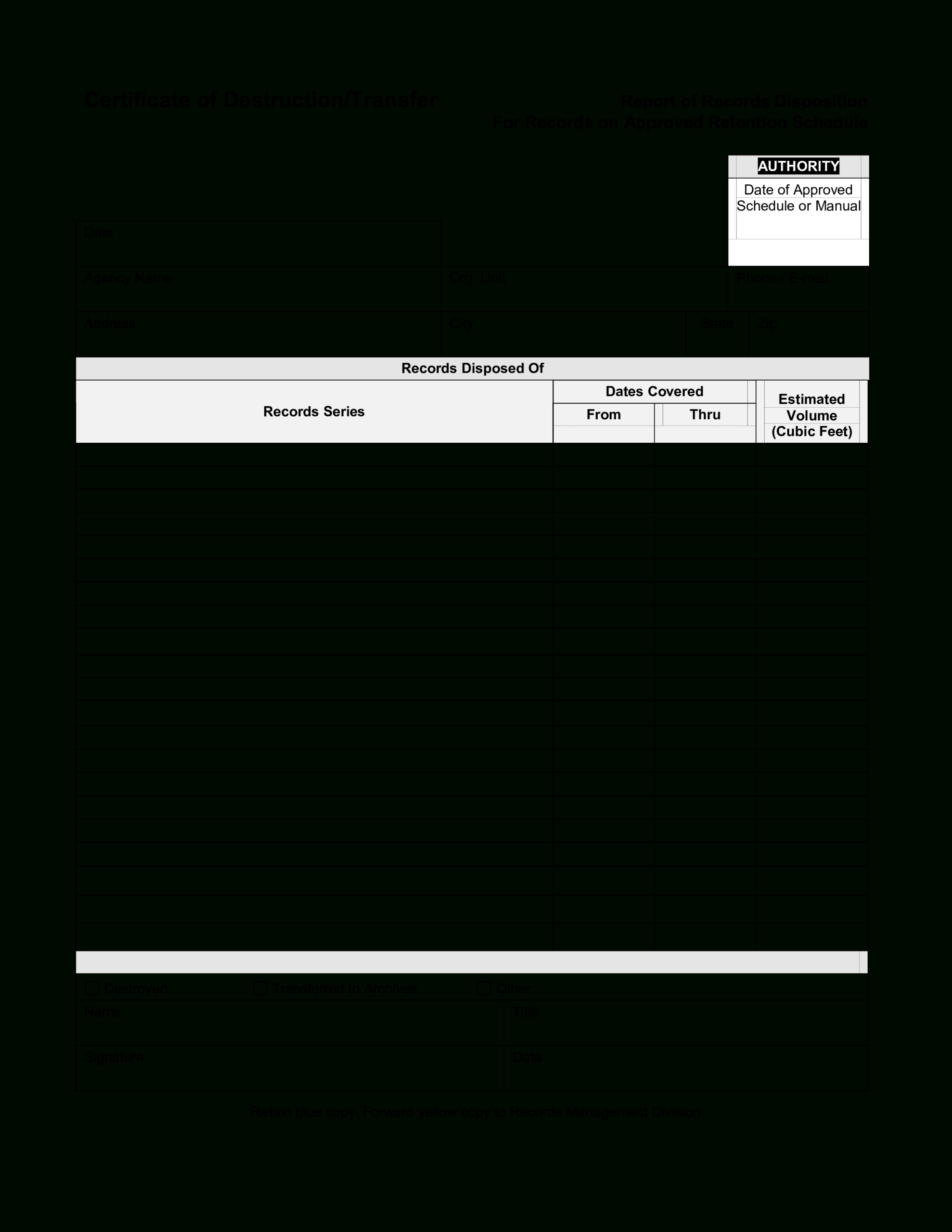 Blank Certificate Of Destruction   Templates At Throughout Destruction Certificate Template