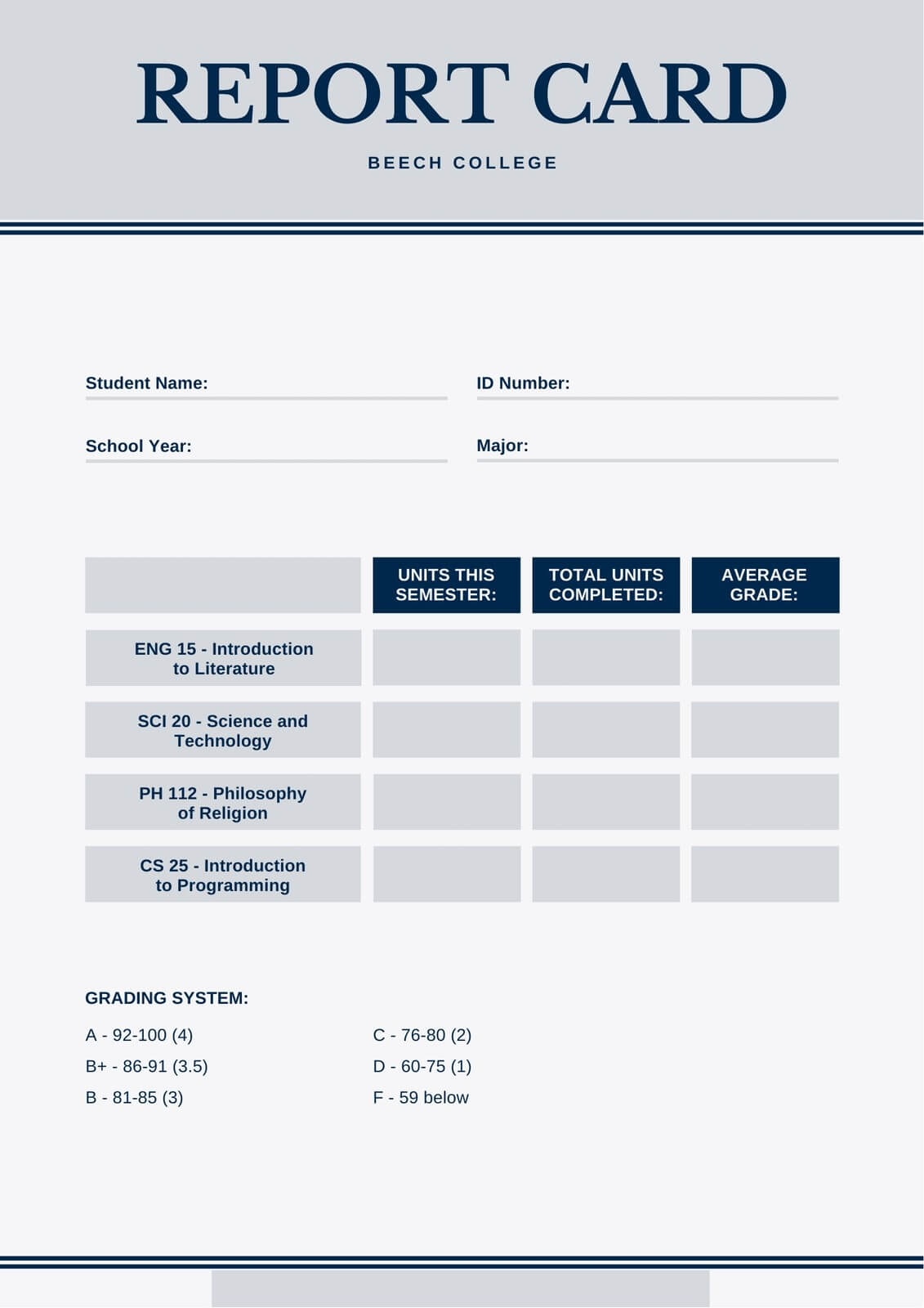 Blue And Gray Simple College Report Card - Templatescanva Inside College Report Card Template