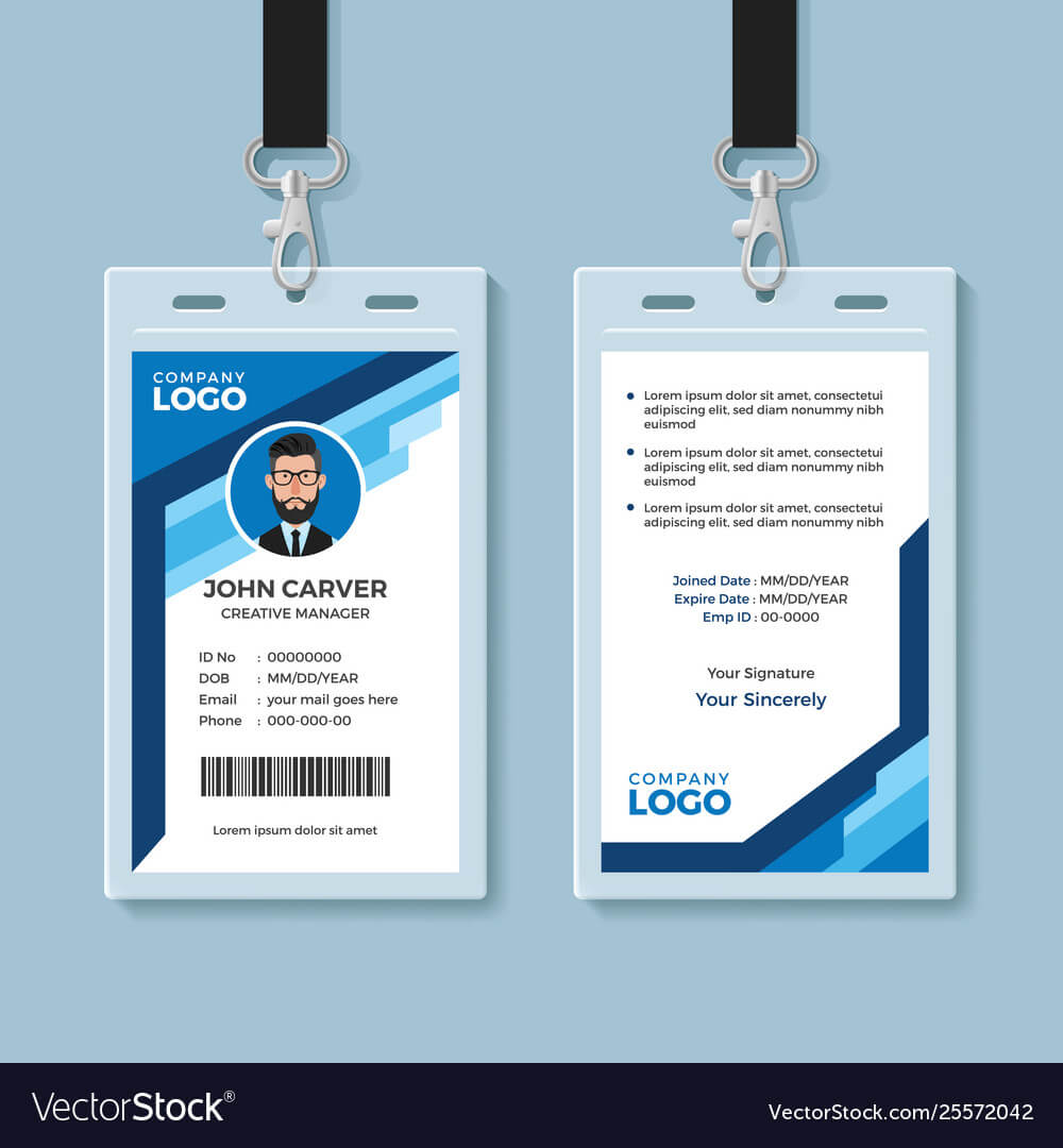 Blue Graphic Employee Id Card Template Within Work Id Card Template