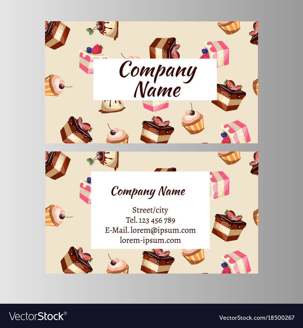 Business Card Design Template With Tasty Cakes Pertaining To Cake Business Cards Templates Free