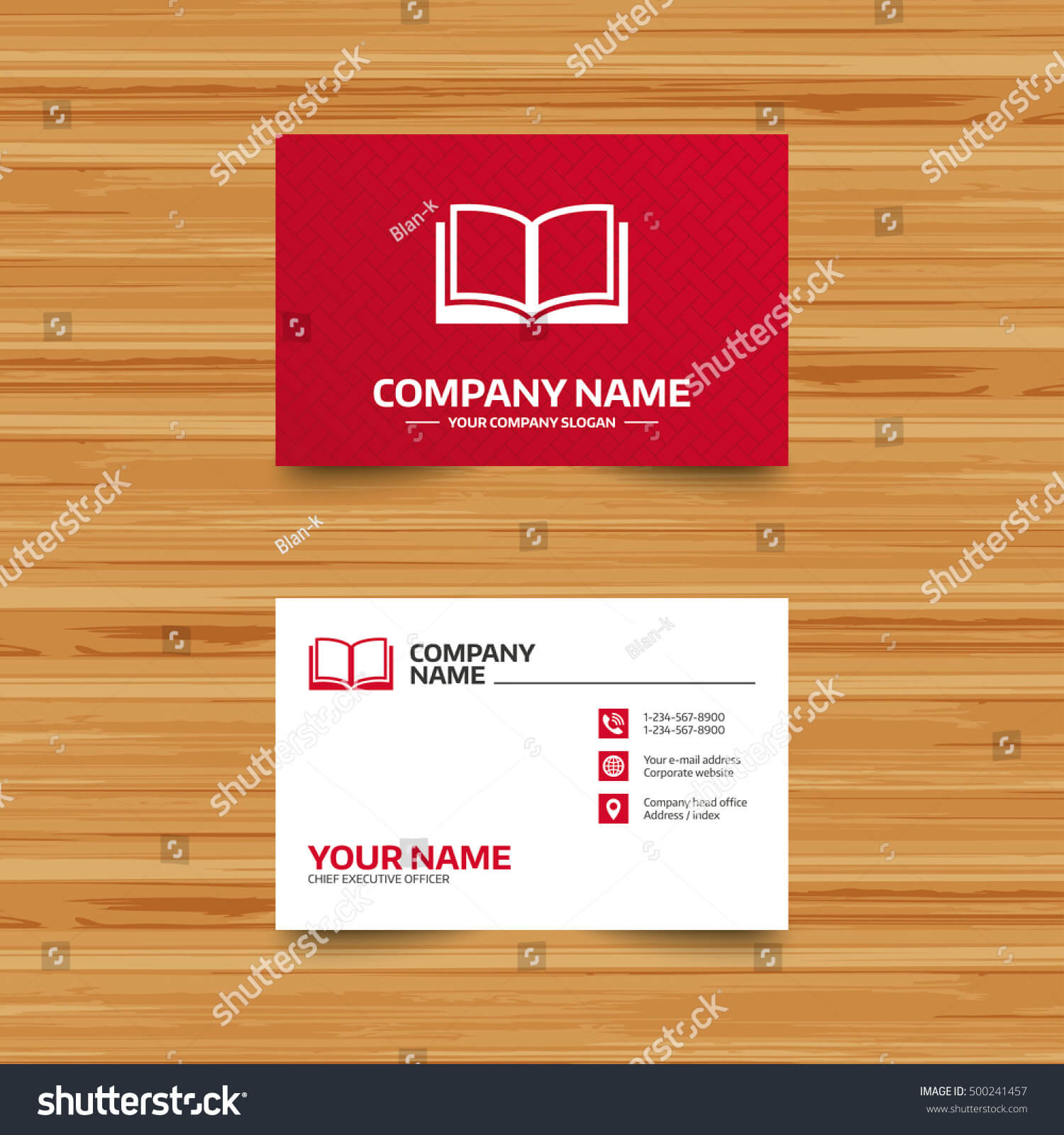 Business Card Template Book Sign Icon Stock Vector (Royalty In Index Card Template Open Office