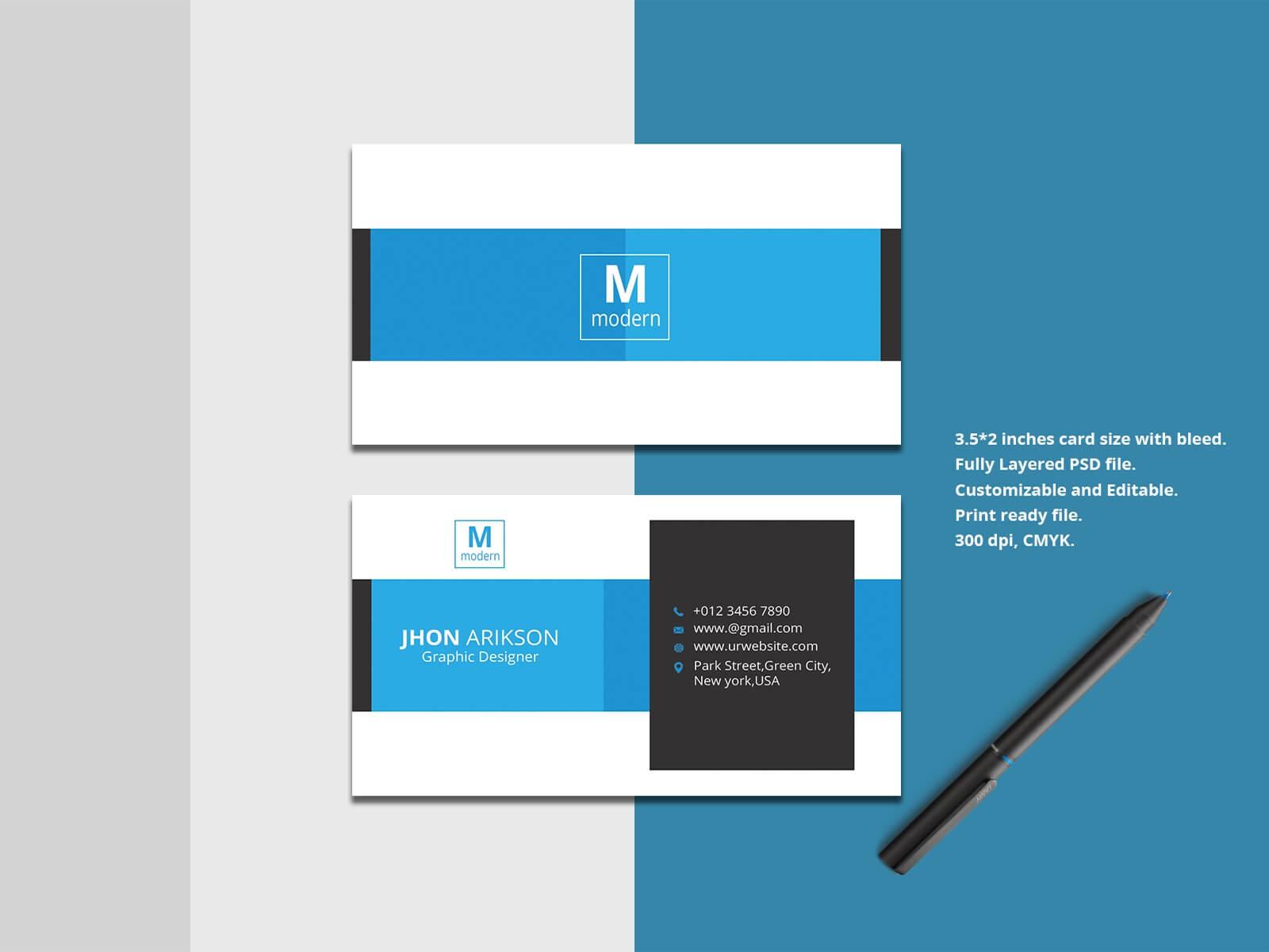 Business Card Templateakhtar Jahan On Dribbble Regarding Business Card Size Template Psd