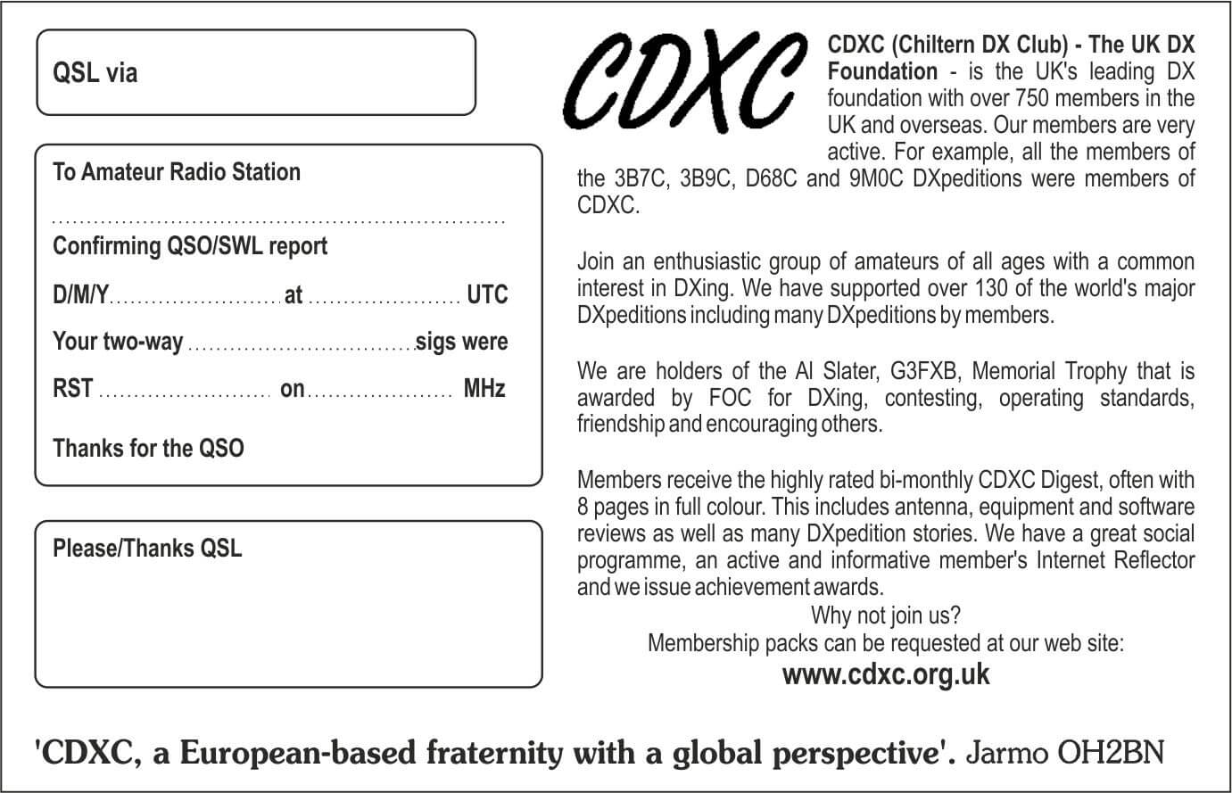 Cdxc – The Uk Dx Foundation – Qsl Cards With Qsl Card Template