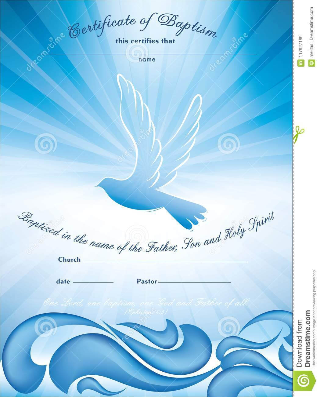 Certificate Baptism Template. With Waves Of Water And Dove Intended For Christian Baptism Certificate Template