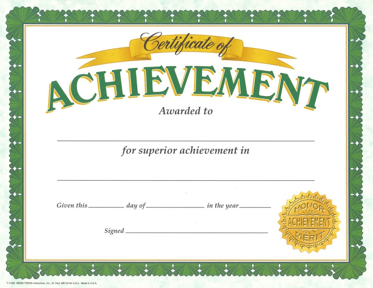 Certificate Of Achievement Template – Certificate Templates Regarding Army Certificate Of Appreciation Template