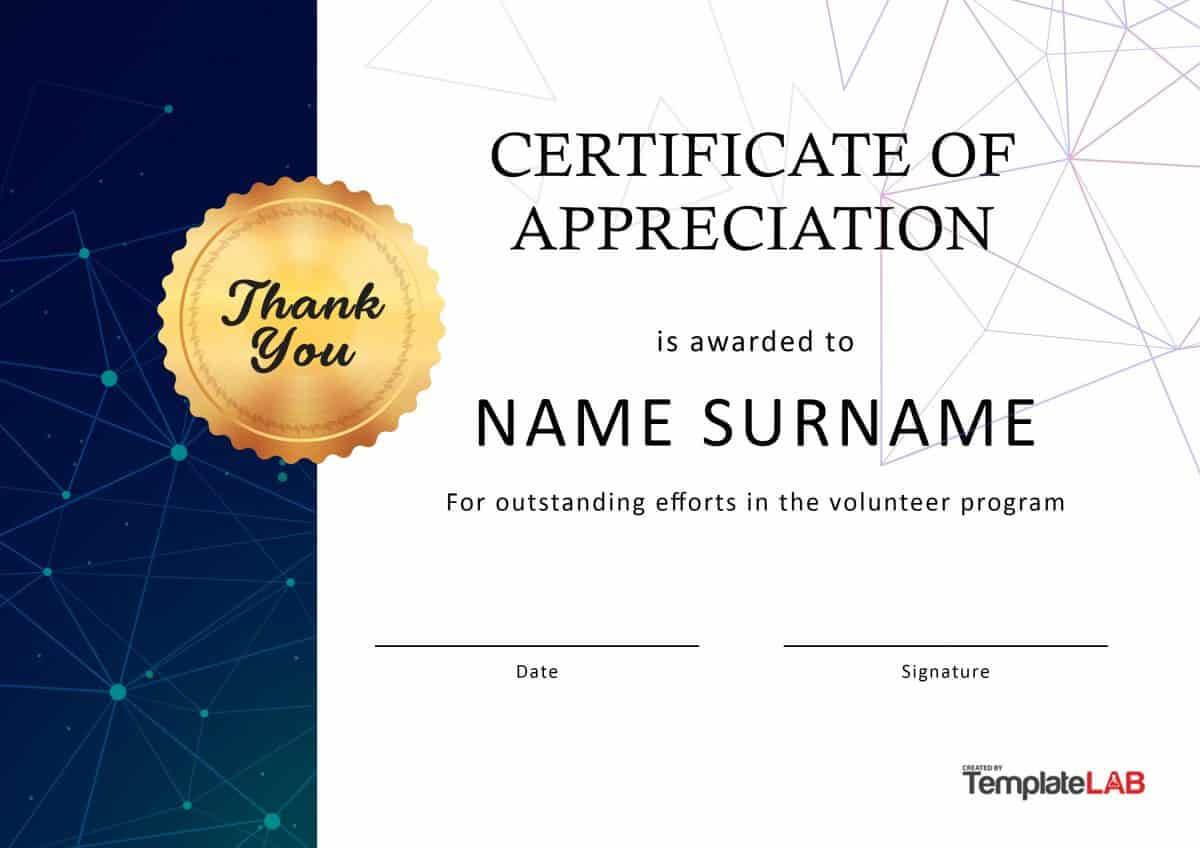 Certificate Of Appreciation Volunteer – Calep.midnightpig.co Within Volunteer Award Certificate Template