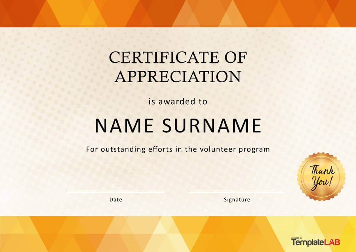 Certificate Of Appreciation Volunteer Work – Calep In Volunteer Award Certificate Template