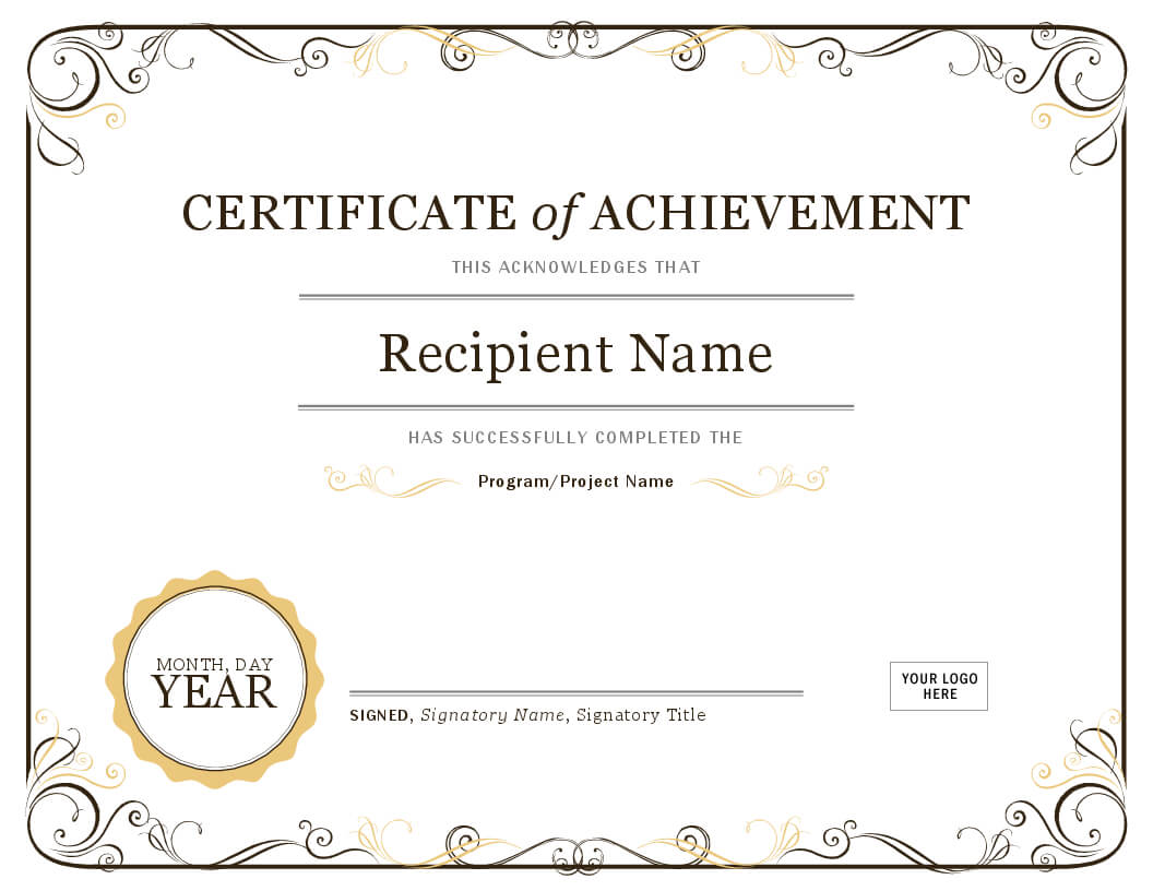 Certificate Of Attendance Template Word - Calep.midnightpig.co In Microsoft Word Certificate Templates