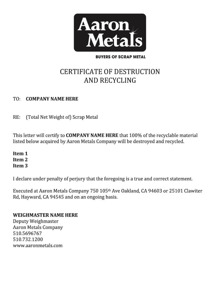 Certificate Of Destruction Template – Fill Online, Printable With Free Certificate Of Destruction Template