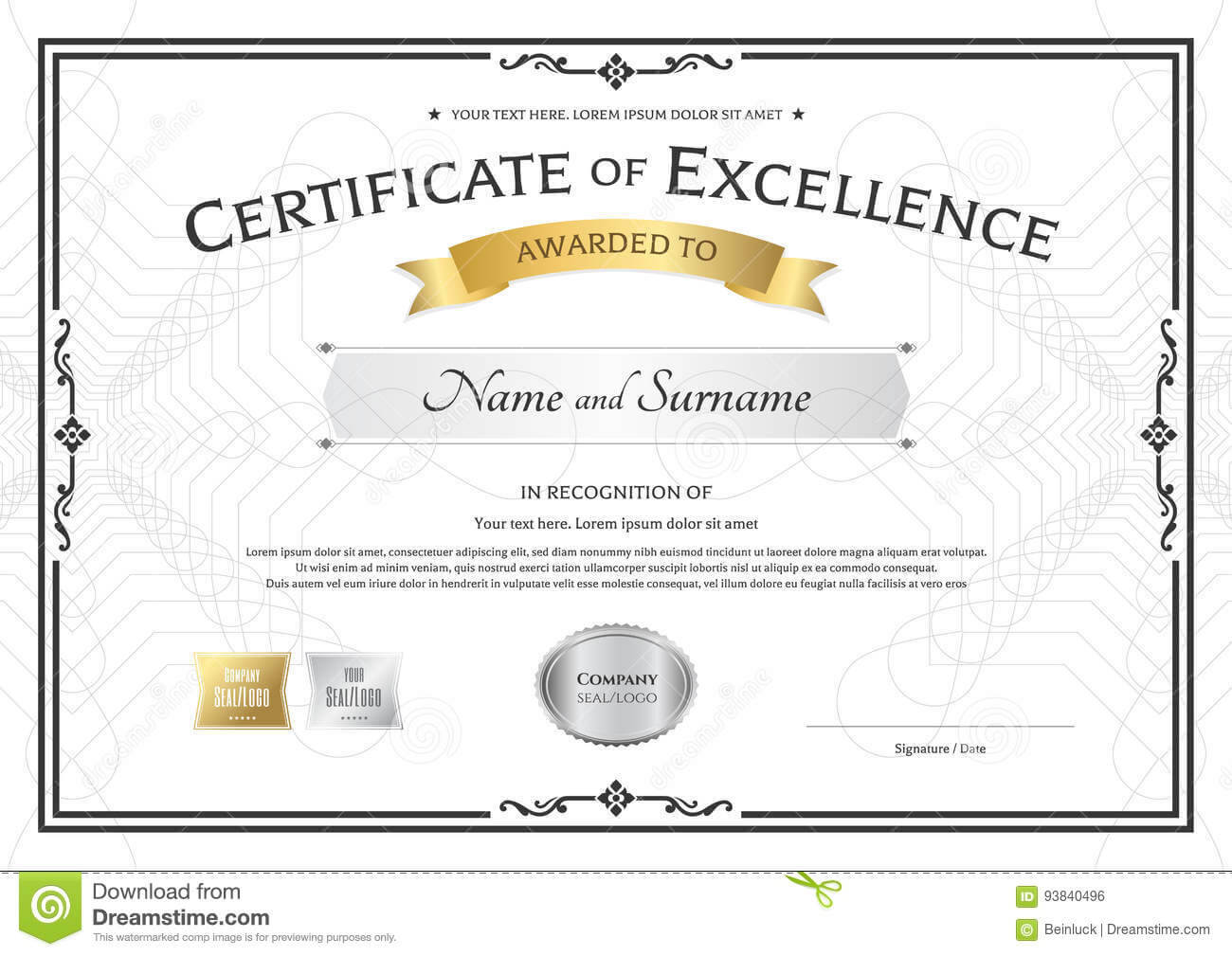 Certificate Of Excellence Award - Dalep.midnightpig.co With Life Saving Award Certificate Template