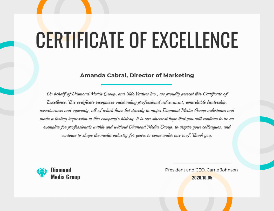 Certificate Of Excellence With Good Job Certificate Template